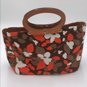 Kate Spade Fabric with Leather Trim Handbag